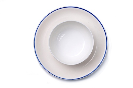 Plain white plate and bowl from top Stock Photo - 14608437