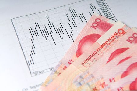 Chinese money currency yuan with stock chart photo