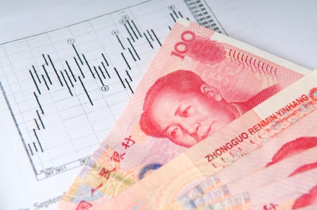 shares: Chinese money currency yuan with stock chart