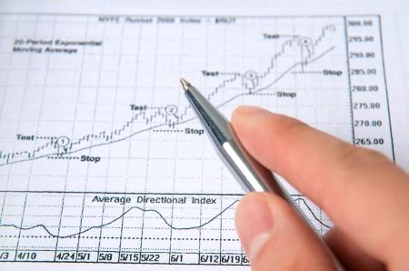 Hand holding pen on stock chart photo