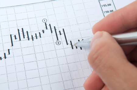 Hand with pen pointing on stock chart photo
