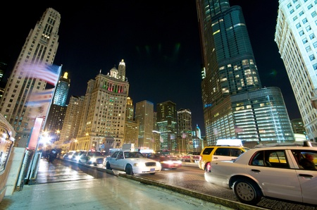 Evening Traffic on Michigan Avenue at the Chicago River  City life