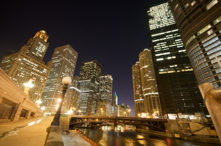 A View of Chicago River at Night