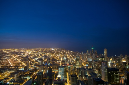 Sears Tower View on Chicago Downtown Winter night photo
