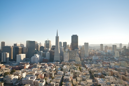 coit: San Francisco skyline captured from Coit Tower  Editorial