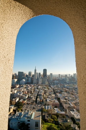 coit: A view on San Francisco downtown skyline and the Transamerica Tower from the Coit Tower.