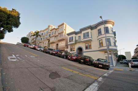 Telegraph Hill Neighborhood in San Francisco. Victorian Houses on a steep street.