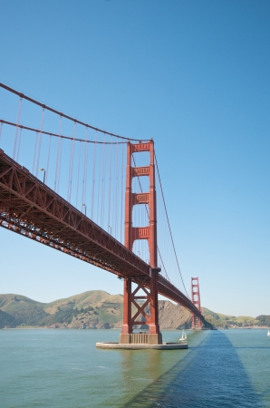 Blue sky summer day at the Golden Gate Bridge in San Francisco photo