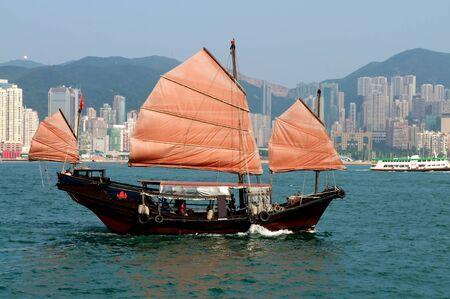 Hong Kong Junk Boat Stock Photo - 14639313