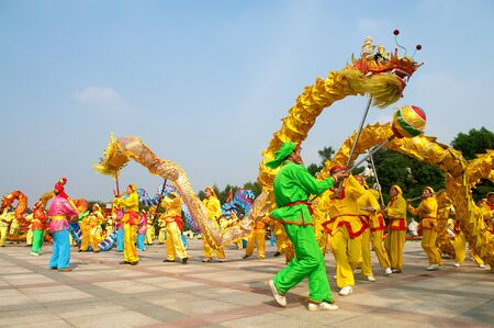 A traditional dragon dance performance in China