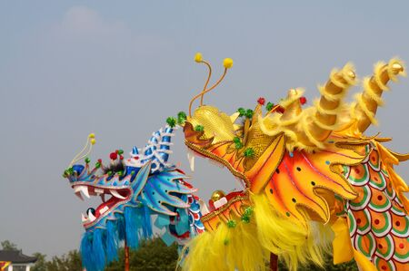 A traditional dragon dance performance in China photo
