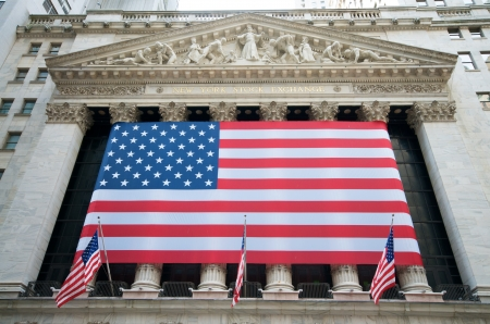 USA Flags on Wall Street at the New York Stock Exchange NYSE, New York