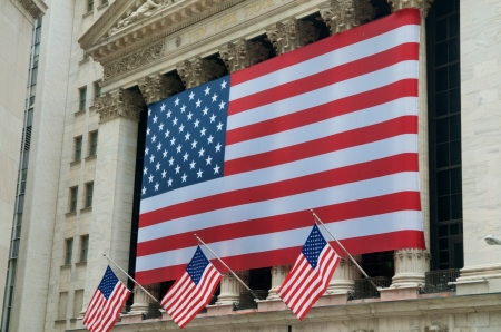 dow: USA Flags on Wall Street at the New York Stock Exchange NYSE, New York Editorial
