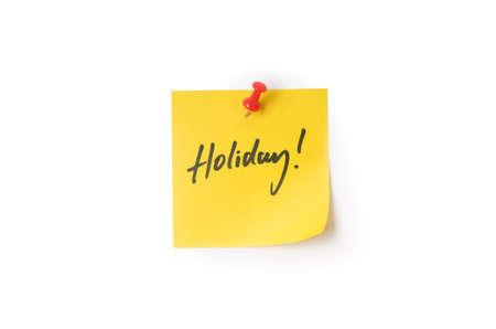 yellow pushpin: Yellow holiday sticky note with pushpin