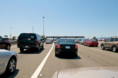 Toll station traffic at the Bay Bridge to San Francisco