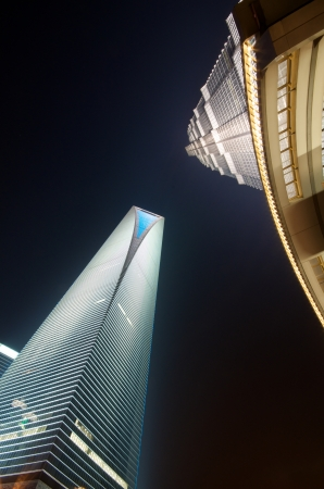 jin mao tower: World Financial Center in Pudong (SWFC) and Jin Mao tower at night.