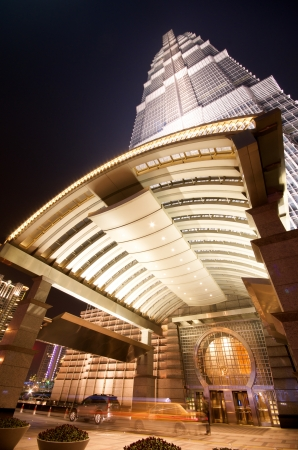 jin mao tower: Shanghai Jin Mao tower at night Editorial