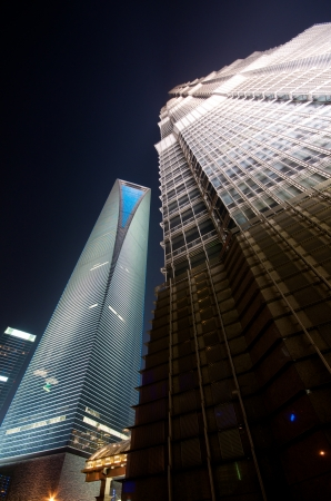 jin mao tower: World Financial Center in Pudong  SWFC  and Jin Mao tower at night