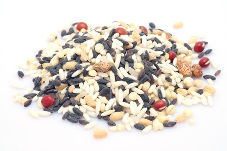Raw mixed grains on white background, mixed with 5 different grains photo