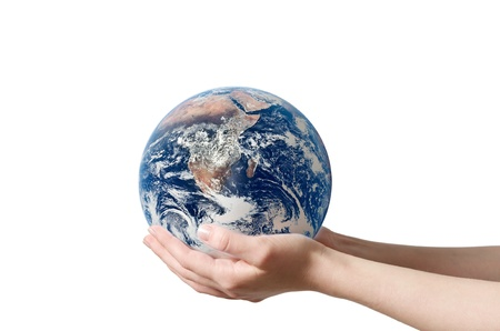 A hand holding a globe, saving environment recycle Stock fotó