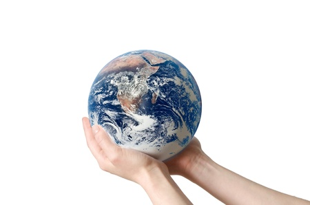 A hand holding a globe, saving environment recycle Stock Photo