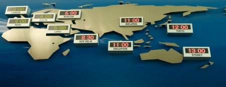A map with the world time zone