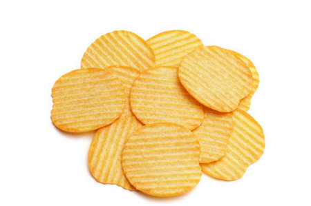 Pile of potato chips isolated on white background
