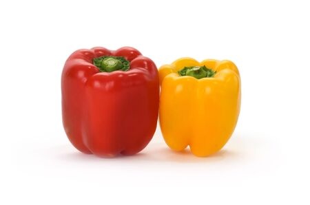 Isolated Red and yellow bell pepper in white background