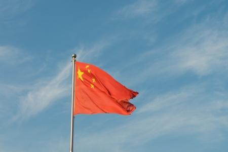 푸른 하늘 아래 중국어 플래그 스톡 콘텐츠