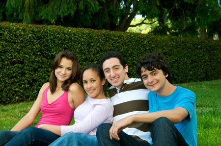 Group of teenagers in nature outdoor Stock Photo - 14994526
