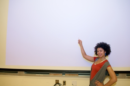 African American student at a presentation