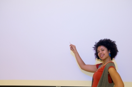 African American student at a presentation photo