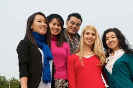Group of 5 college students outdoor Stock Photo