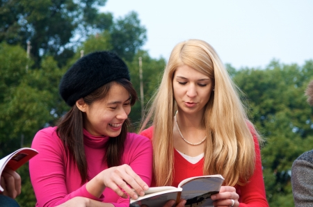 Female college students studying outdoor