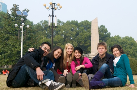 abroad: Group of diverse students on campus