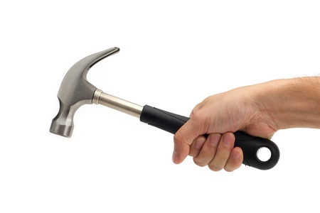 Hand holding a hammer on white background Stock Photo