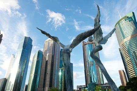 천사와 상하이 푸동 시내의 스카이 라인 풍경