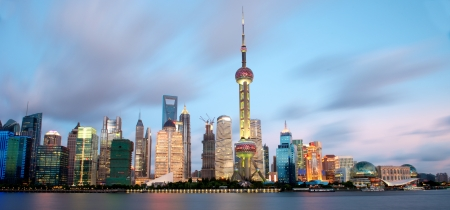 shanghai skyline: Shanghai Skyline in the evening hours Editorial
