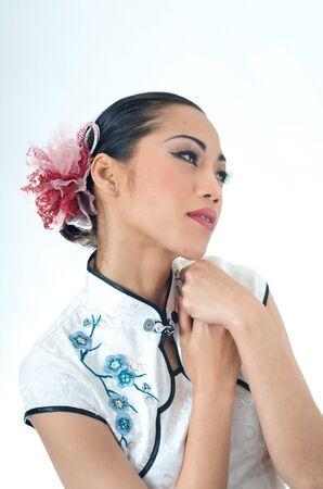 qipao: Beautiful Asian woman in Qipao dress
