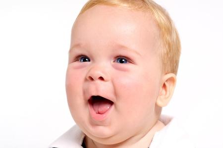 Cute blond baby with blue eyes portrait 版權商用圖片