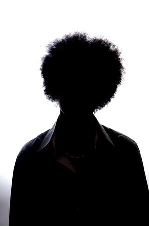 African American Teenager Afro look silhouette photo