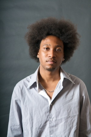 African American Man in Shirt with Afro look