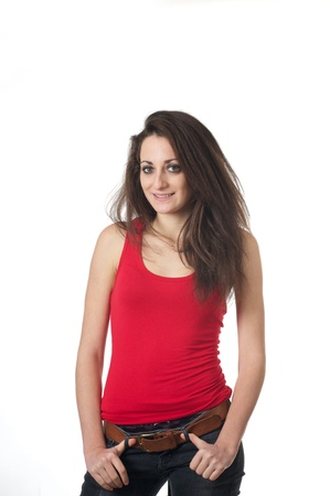 Portrait of young lady in red tank top on white background