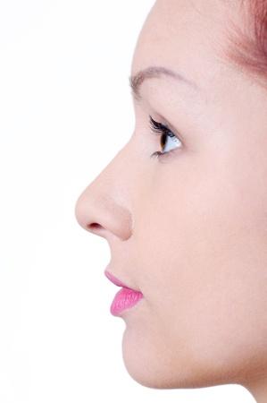 profile: Beautiful womans face in profile. Stock Photo