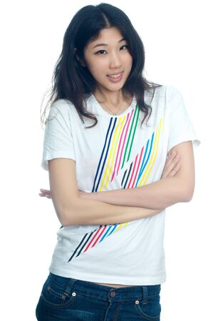 cross arms: Portrait of beautiful Chinese girl with cross arms