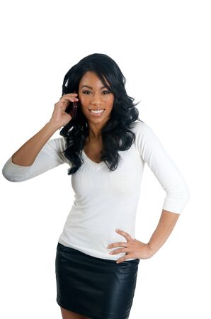 appealing attractive: African American Woman talking on the phone