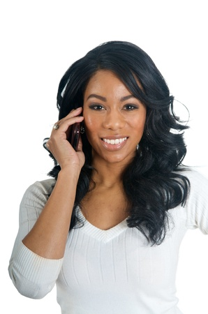 american sexy: African American Woman talking on the phone