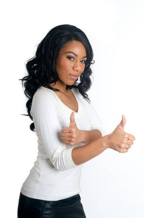 Smiling African American Woman with two thumbs up gesture