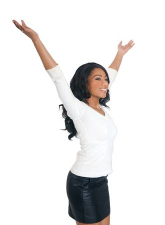 appealing attractive: Relaxing African American Woman in white isolated background