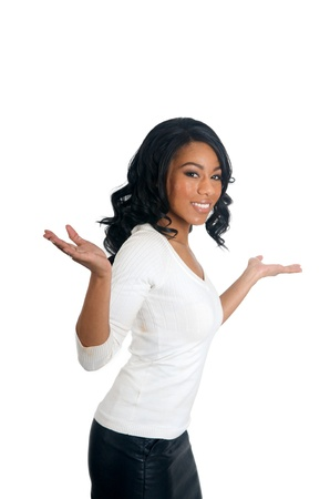 clueless: African American Woman with open arms clueless gesture Stock Photo